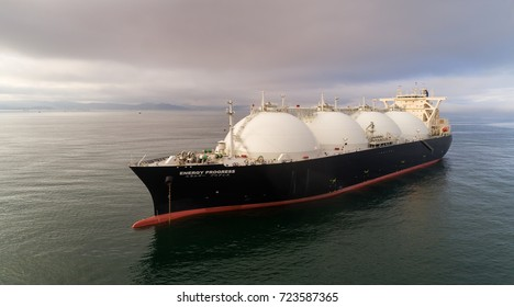 Nakhodka, Russia - July 28, 2017: LNG-tanker Energy Progress.