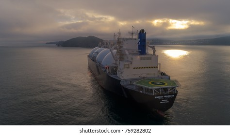 Nakhodka, Russia - July 28, 2017: LNG-tanker Energy Progress at anchor in the road.