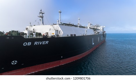 Nakhodka. Russia - July 29, 2018: LNG-tanker Ob River is anchored in the road.