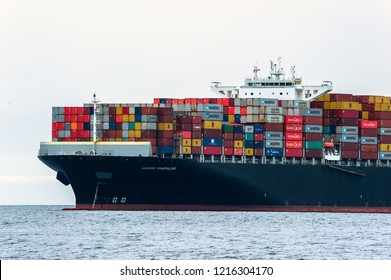 Nakhodka, Russia - June 13, 2018: The bow of a huge container ship Maersk Esmeraldas at at anchored in the roads.