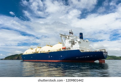Nakhodka, Russia - June 21, 2018: LNG-tanker Cygnus Passage at anchor in the road.
