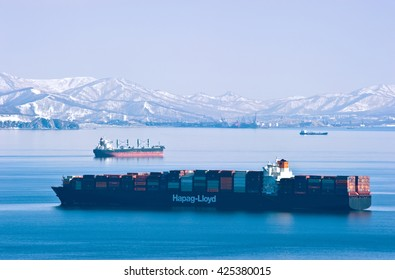 Nakhodka. Russia - March 06, 2015: Container ship company Hapag-Lloyd on the roads of the port Vostochny.