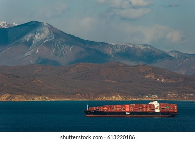 Nakhodka. Russia -March 22, 2017: Container ship ZIM Haifa standing on the roads at anchor.