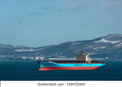 Nakhodka. Russia - March 22, 2019: Container ship Adrian Maersk at anchor in the roads.