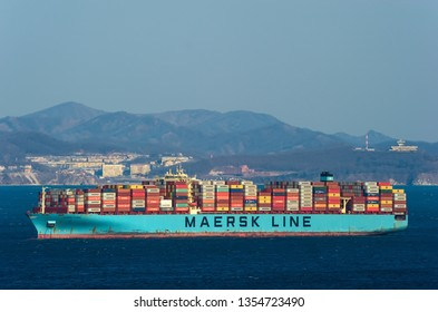 Nakhodka. Russia - March 26, 2019: Container ship Maersk Evora at anchor in the roads.