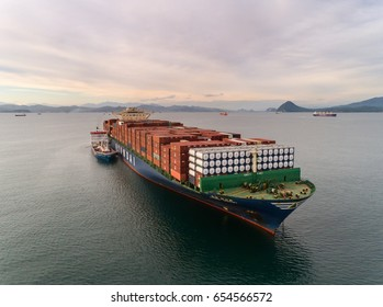Nakhodka. Russia - May 23, 2017: Bunkering tanker Zaliv Nakhodka a large container ship Hyundai Mercury.