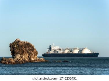 Nakhodka, Russia - May 28, 2020: LNG-tanker Grand Mereya at anchor in the water.