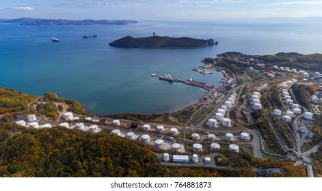 Nakhodka. Russia - October 08, 2017: Panoramic image of the oil terminal company Rosneft.
