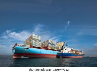 Nakhodka, Russia - September 17, 2015: Bunkering tanker Vitaly Vanykhin container ship Cornelia Maersk.