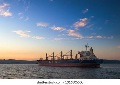 Nakhodka. Russia - September 21, 2017: Bulk carrier Kodiak Island anchored in the raid.