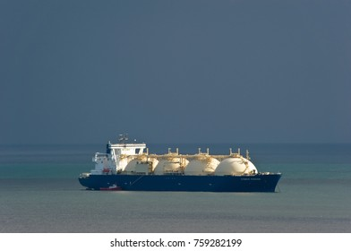 Nakhodka, Russia -September 29, 2017: LNG-tanker Cygnus Passage at anchor in the road.