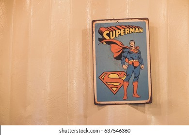 NAKHON NAYOK - APRIL 23 : Old comics superman sign logo on wall in shop on April 23, 2017 in Nakhon Nayok Province, Thailand.