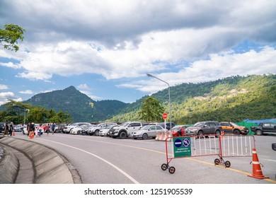NAKHON NAYOK, THAILAND - Oct 27, 2018: A lot of car of tourist are parking at Khun Dan Prakan Chon Dam at Nakhon Nayok, Thailand.