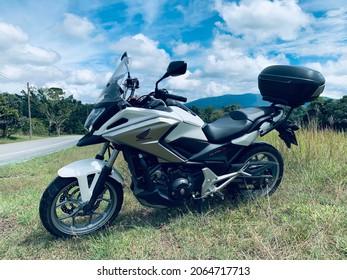 Nakhon Nayok, Thailand. September 13, 2021 : Motorbike big bike Honda NC750X, 2017 Year. Used as vehicle in the trip to the travel.