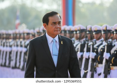 Nakhon Nayok, Thailand-January 25, 2018:  Thai Prime Minister Prayut Chan-o-cha inspects a guard of honor in a ceremony to mark the 61st established year of Armed Forces Academies Preparatory School.