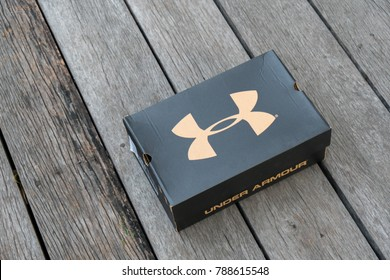 NAKHON PATHOM - DECEMBER 30, 2017: Under Armour box shoes . Under Armour, Inc. is an American company founded in 1996 and supplies sportswear and casual apparel.