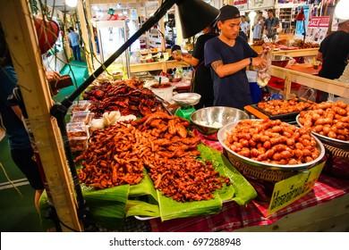 Nakhon Pathom, THAILAND - 12  August2017 : Thai food stalls in Thai food festival at Central Salaya shopping mall in Nakhon Pathom, Thailand.