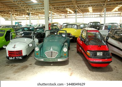 NAKHON PATHOM, THAILAND - 17 May 2019: Vintage cars at Jesada Technik Museum. Many brand and classic model Mercedes, Volvo and Chevrolet included.