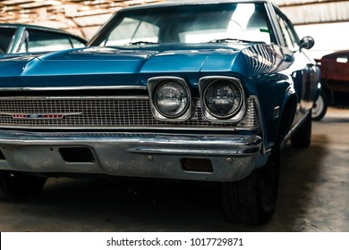 NAKHON PATHOM, THAILAND - 4 FEB 2018: Vintage cars at Jesada Technik Museum. Blue police officer car classic model of Chevrolet.