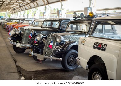 NAKHON PATHOM, THAILAND - APRIL 13, 2018: Many vintage cars exhibited at Jesada Technik Museum. The museum displays many antique vehicles.
