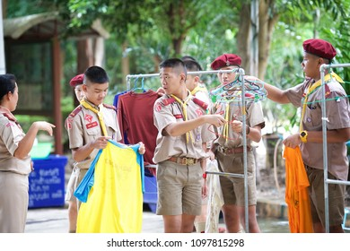 NAKHON PATHOM, THAILAND - August 5, 2016 : Thai Scout in basic camping lesson activity, Scout Camp in local school, Thailand