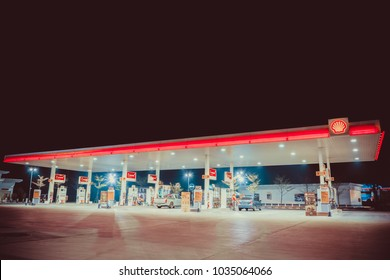 NAKHON PATHOM, THAILAND - FEB, 2018 :  the Shell fuel petrol station in the night scene