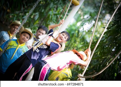 NAKHON PATHOM, THAILAND - February 3, 2016 : scout outdoor adventure activity, Scout Camp in local school, February 3, 2016 in Nakhon Pathom, Thailand.