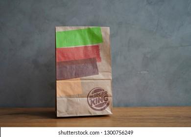 1a0175508 Nakhon Pathom, Thailand - Janua 31, 2019 : Burger King take away paper bag