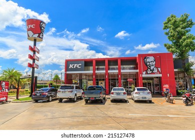 NAKHON PATHOM, THAILAND - JUN 1: KFC restaurant on Jun 1, 14 in Thailand. It's a fast food restaurant chain that specializes in fried chicken and is headquartered in Louisville, Kentucky, in the USA.