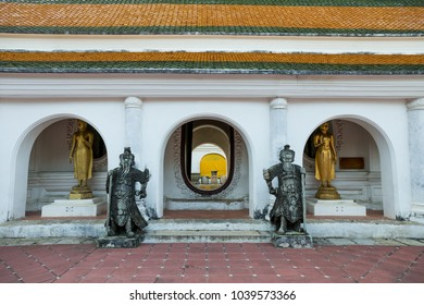 Nakhon Pathom / Thailand - March 1 2018: Chinese Warrior Stone Statues stand in Thai temple at Wat Phra Pathom Chedi(Big pagoda)