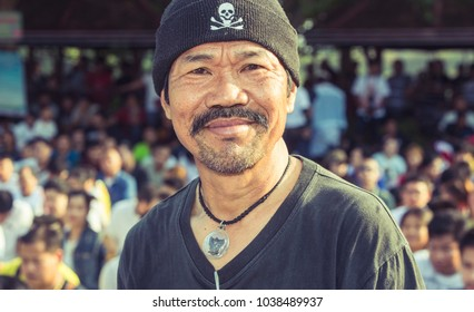 Nakhon Pathom / Thailand - March 3rd 2018:  Sak Yant Festival at Bang Phra. Portrait of a believer attending the Festival