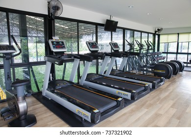 Nakhon Pathom ,THAILAND - October 14, 2017 : Equipment And Machines At The Modern Gym Room Fitness Center
