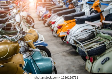 Nakhon Pathom, THAILAND - October 24, 2018 :Motorcycles Vespa and Lambretta vintage sprint motor scooter motorbike type in the old bikes and cars at Jesada Technick museum,Thailand