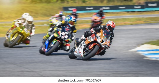 NAKHON PATHOM, THAILAND-DECEMBER 17: Motorcycle racing with the style and excitement of the participating teams in the R2M Thailand Superbike 2017 Final at Thailand NAKHORNCHAISRI CIRCUIT ON DECEMBER