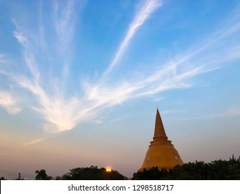 Nakhon Pathom, Thailand-January 5 Phra Pathom Chedi with skyblue background is one of the most important places for Buddhists in Thailand taken January 5,2019 in NaKhon Pathom