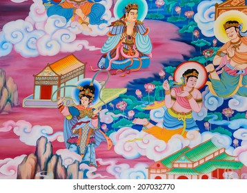 NAKHON PATHOM,THAILAND -MARCH 7, 2013 : Traditional Chinese mural on temple wall at Wat Onoi temple in Nakhon Pathom, Thailand.