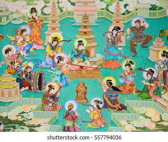 NAKHON PATHOM,THAILAND -MARCH 7, 2013 : Traditional Chinese mural on temple wall at Wat Onoi in Nakhon Pathom, Thailand.