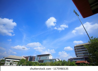 Nakhon Pathom,Thailand - September 9,2018: View Building in the University of the sky with blue sky.