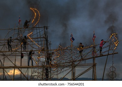 NAKHON PHANOM - THAILAND - 5 October 2017: People are lighting candles for The illuminate Boat Procession Festival in the Mekong River.