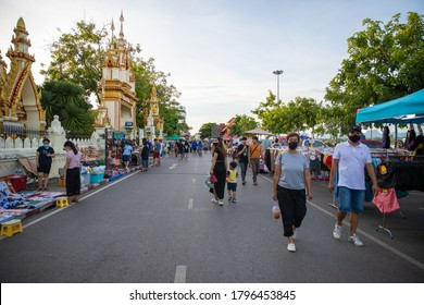 Nakhon Phanom, Thailand, July 26,2020 : Walking street is a place to sell things for pedestrians. Open for sale every Friday Saturday and Sunday There are many products to sell and the price is cheap.