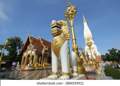 Nakhon Phanom, Thailand-July 27, 2020 : Wat Phra That Phanom temple public temple as sacred precinct of Buddhist religion
