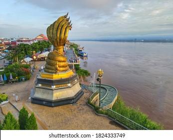 Nakhon Phanom,Thailand 29 Sep 2020:Aerial view Phaya Sri Sattanakharat Sacred things along the Mekong River are located at Nakhon Phanom Province, Thailand.