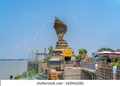 Nakhon phanom,Thailand – MAY 19,2019 :This is Lan Phanom Naka.It is landmarks along Mekong River , Nakhon phanom , Thailand