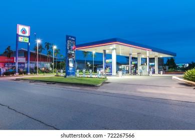 Nakhon phanom-THAILAND - September 11, 2016: PTT gas station in Banpheng Nakhon phanom Thailand. PTT is largest oil company in Thailand.