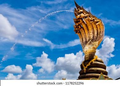 Nakhon phanom,Thailand – September 26,2017 :This is Lan Phanom Naka.It is landmarks along Mekong River , Nakhon phanom , Thailand