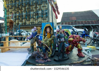 Nakhon Phanom,Thailand,October 04,2019:The Avengers Toys, Marvel's Super Hero models, such as Captain America, Iron Man, Spider Man, Hulk and Thanos, show in the Walking Street market.