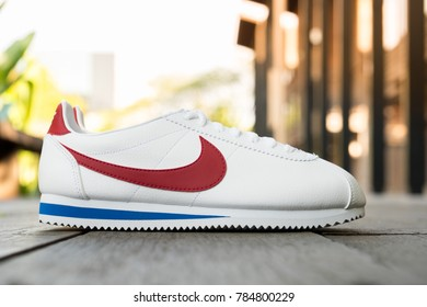 NAKHON PRATHOM, THAILAND - DECEMBER 30, 2017:Nike classic cortez leather  white/