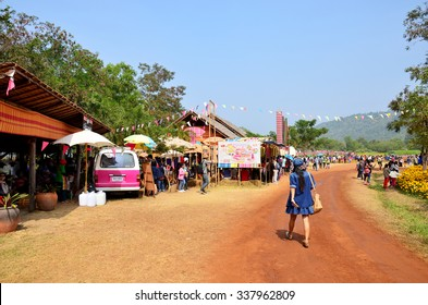 NAKHON RATCHASIMA - DECEMBER 30 : People travel and walking in Jim Thompson Farm at Countryside on December 30, 2013 in Nakhon Ratchasima, Thailand