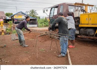 NAKHON RATCHASIMA - NOV 10 : unidentified technician bundle wire steel rod for construction job on November 10, 2015 at Nakhon Ratchasima, Thailand