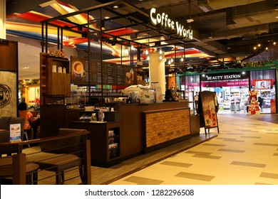 Nakhon Ratchasima Province Thailand , January 06 - 2019 : Coffee shop bar vintage style At the Terminal 21 Korat shopping mall